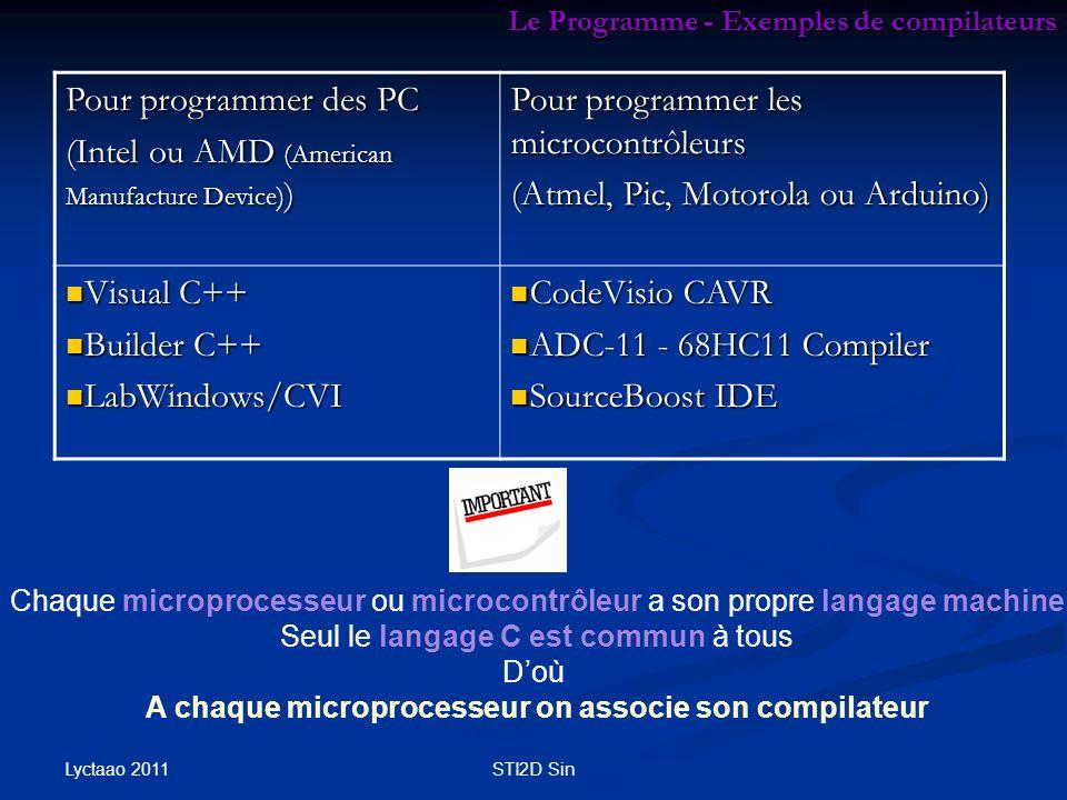 Lyctaao 2011 STI2D Sin Le Programme - Exemples de compilateurs Pour programmer des PC (Intel ou AMD (American Manufacture Device) ) Pour programmer le