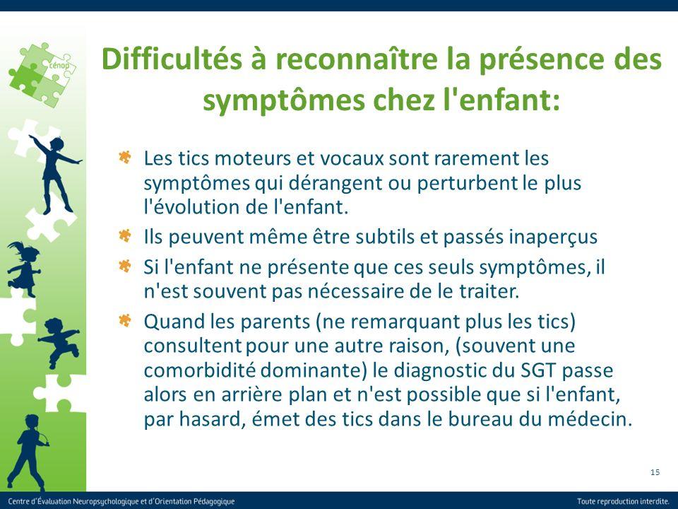 15 Difficultés à reconnaître la présence des symptômes chez l'enfant: Les tics moteurs et vocaux sont rarement les symptômes qui dérangent ou perturbe