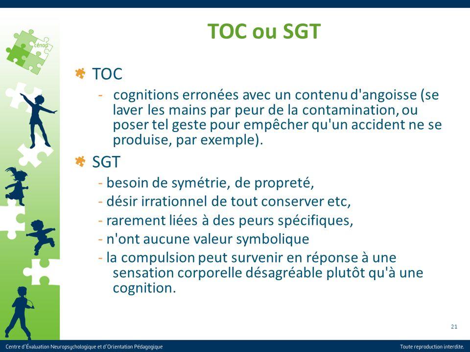 21 TOC ou SGT TOC - cognitions erronées avec un contenu d'angoisse (se laver les mains par peur de la contamination, ou poser tel geste pour empêcher