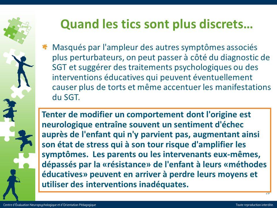 29 Quand les tics sont plus discrets… Masqués par l'ampleur des autres symptômes associés plus perturbateurs, on peut passer à côté du diagnostic de S