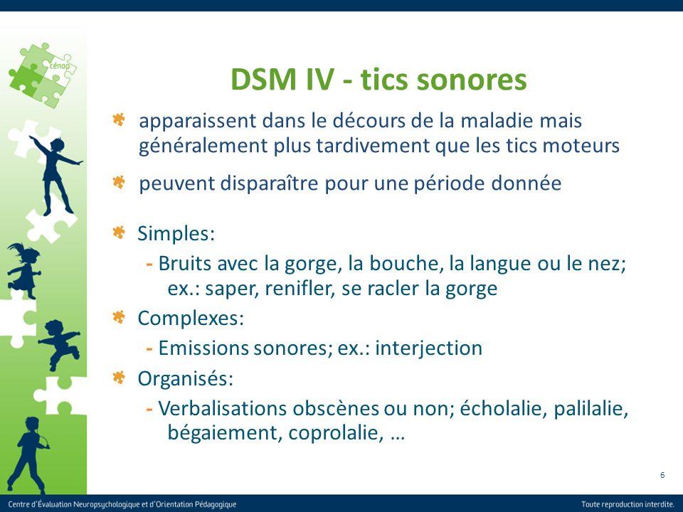6 apparaissent dans le décours de la maladie mais généralement plus tardivement que les tics moteurs peuvent disparaître pour une période donnée DSM I