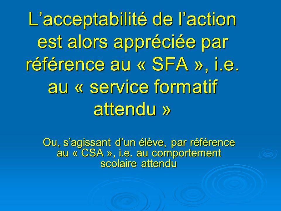 Lacceptabilité de laction est alors appréciée par référence au « SFA », i.e. au « service formatif attendu » Ou, sagissant dun élève, par référence au