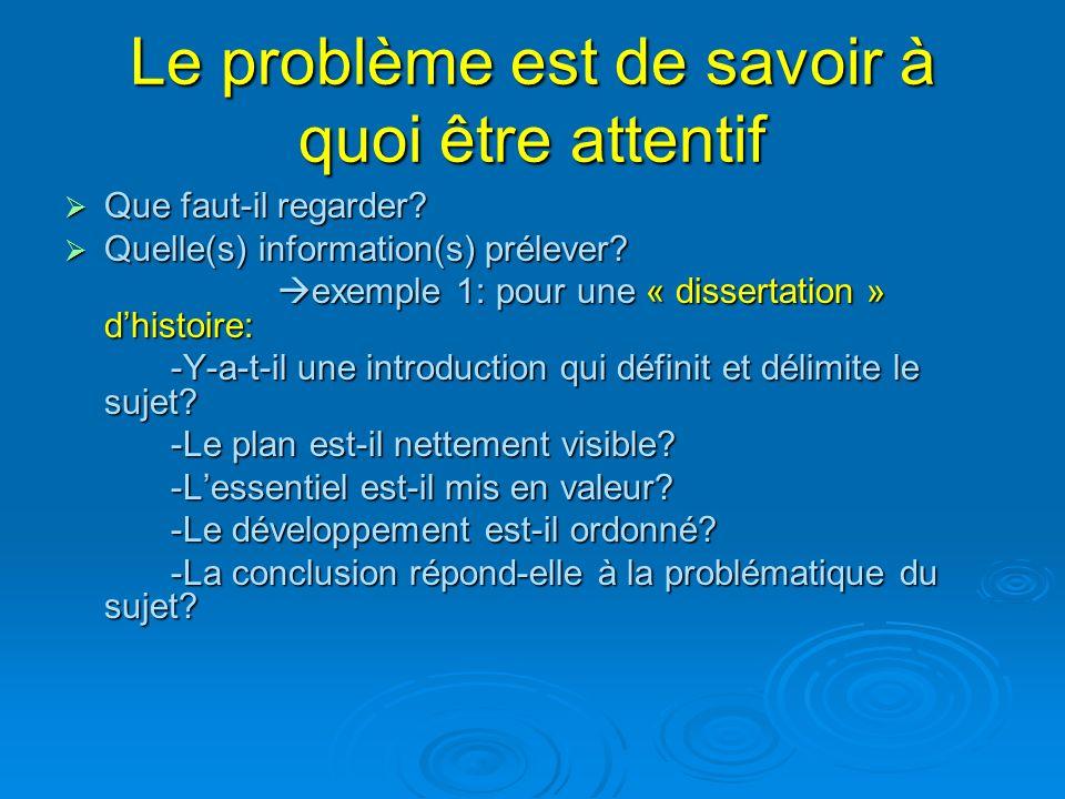 Le problème est de savoir à quoi être attentif Que faut-il regarder? Que faut-il regarder? Quelle(s) information(s) prélever? Quelle(s) information(s)