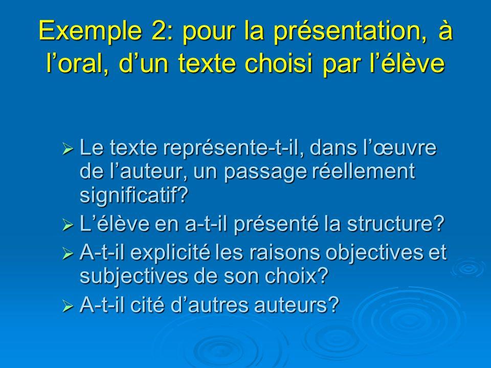 Exemple 2: pour la présentation, à loral, dun texte choisi par lélève Le texte représente-t-il, dans lœuvre de lauteur, un passage réellement signific