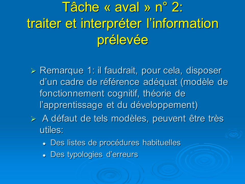 Tâche « aval » n° 2: traiter et interpréter linformation prélevée Remarque 1: il faudrait, pour cela, disposer dun cadre de référence adéquat (modèle