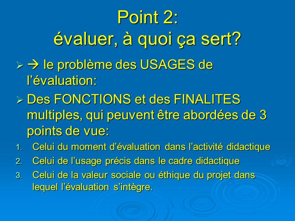 Point 2: évaluer, à quoi ça sert? le problème des USAGES de lévaluation: le problème des USAGES de lévaluation: Des FONCTIONS et des FINALITES multipl