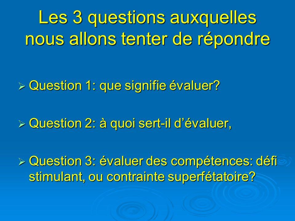 Les 3 questions auxquelles nous allons tenter de répondre Question 1: que signifie évaluer? Question 1: que signifie évaluer? Question 2: à quoi sert-