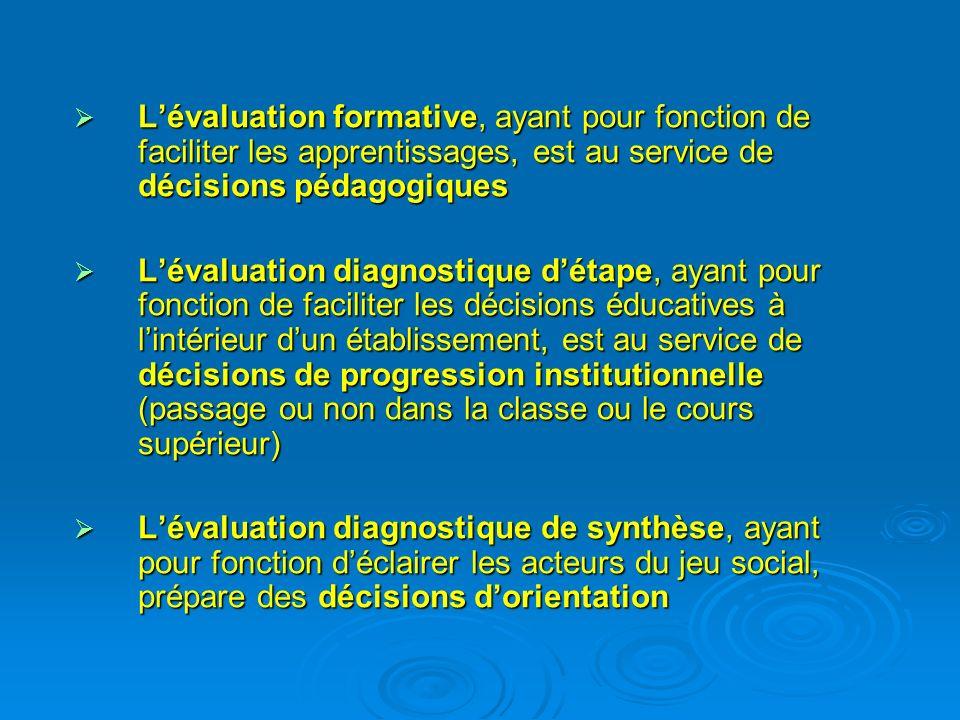 Lévaluation formative, ayant pour fonction de faciliter les apprentissages, est au service de décisions pédagogiques Lévaluation formative, ayant pour