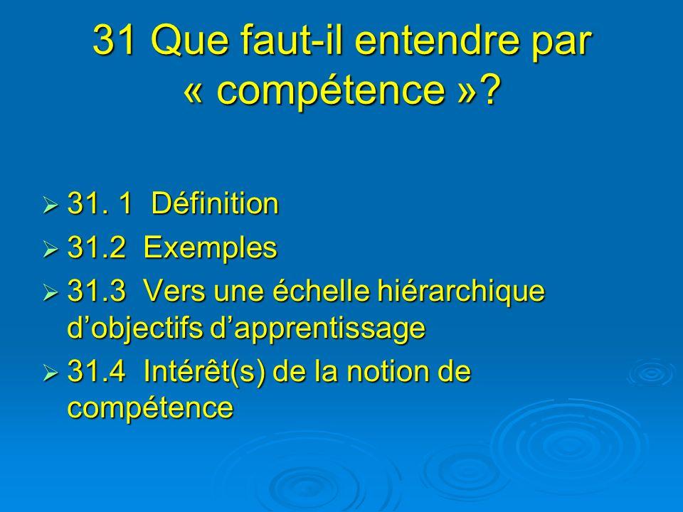31 Que faut-il entendre par « compétence »? 31. 1 Définition 31. 1 Définition 31.2 Exemples 31.2 Exemples 31.3 Vers une échelle hiérarchique dobjectif