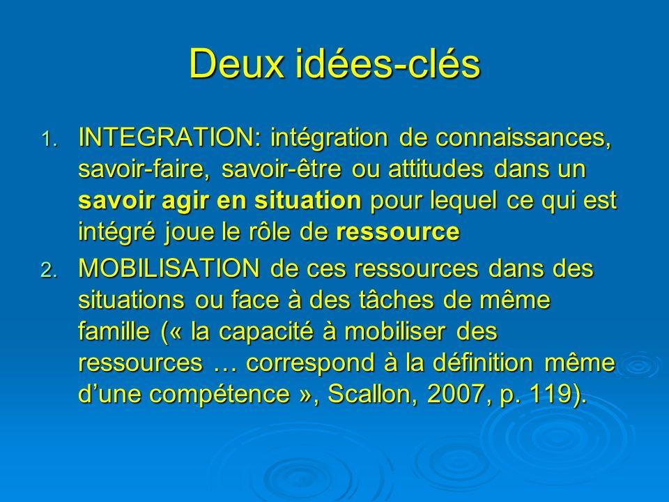 Deux idées-clés 1. INTEGRATION: intégration de connaissances, savoir-faire, savoir-être ou attitudes dans un savoir agir en situation pour lequel ce q