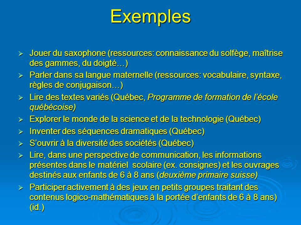 Exemples Jouer du saxophone (ressources: connaissance du solfège, maîtrise des gammes, du doigté…) Jouer du saxophone (ressources: connaissance du sol