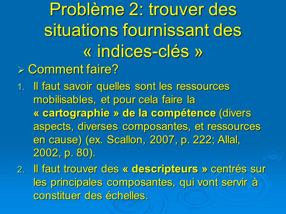 Problème 2: trouver des situations fournissant des « indices-clés » Comment faire? Comment faire? 1. Il faut savoir quelles sont les ressources mobili