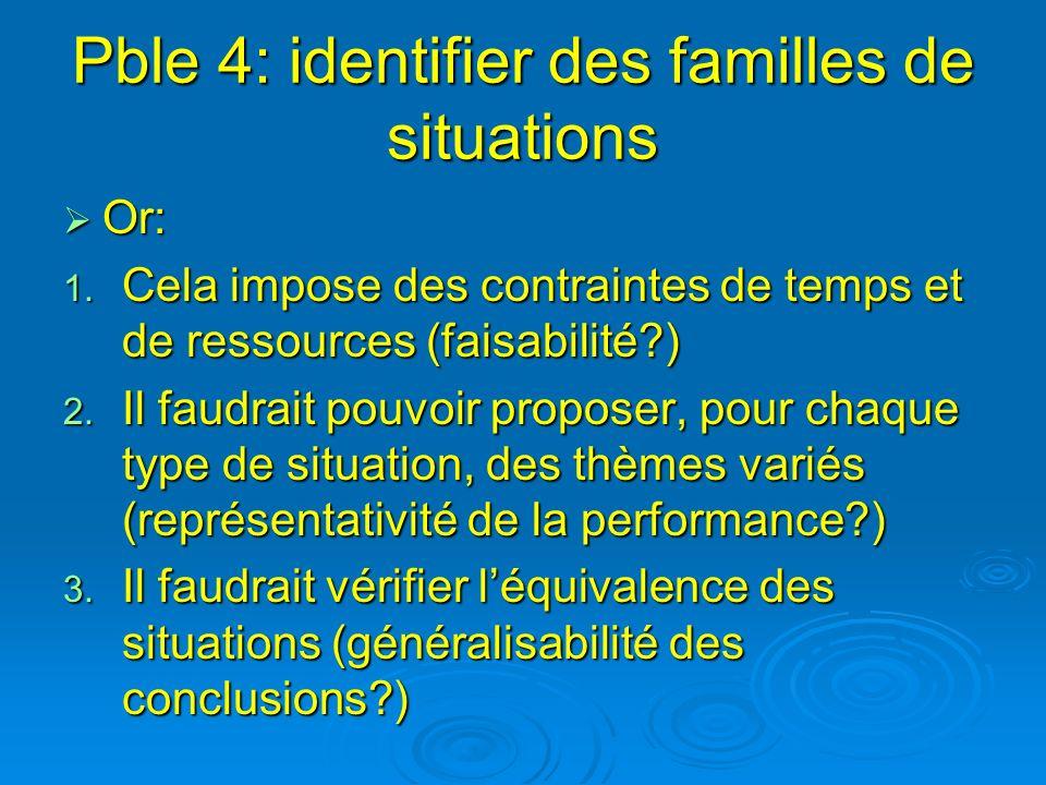 Pble 4: identifier des familles de situations Or: Or: 1. Cela impose des contraintes de temps et de ressources (faisabilité?) 2. Il faudrait pouvoir p