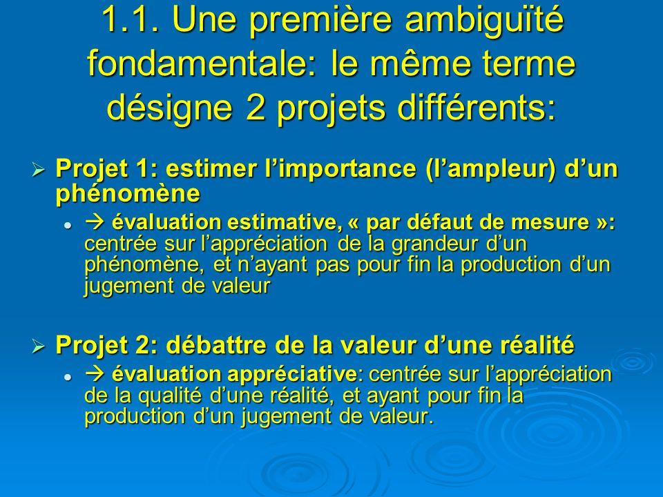 1.1. Une première ambiguïté fondamentale: le même terme désigne 2 projets différents: Projet 1: estimer limportance (lampleur) dun phénomène Projet 1: