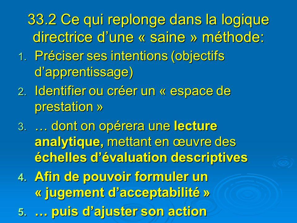 33.2 Ce qui replonge dans la logique directrice dune « saine » méthode: 1. Préciser ses intentions (objectifs dapprentissage) 2. Identifier ou créer u