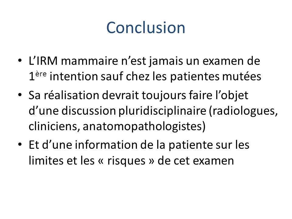 Conclusion LIRM mammaire nest jamais un examen de 1 ère intention sauf chez les patientes mutées Sa réalisation devrait toujours faire lobjet dune dis
