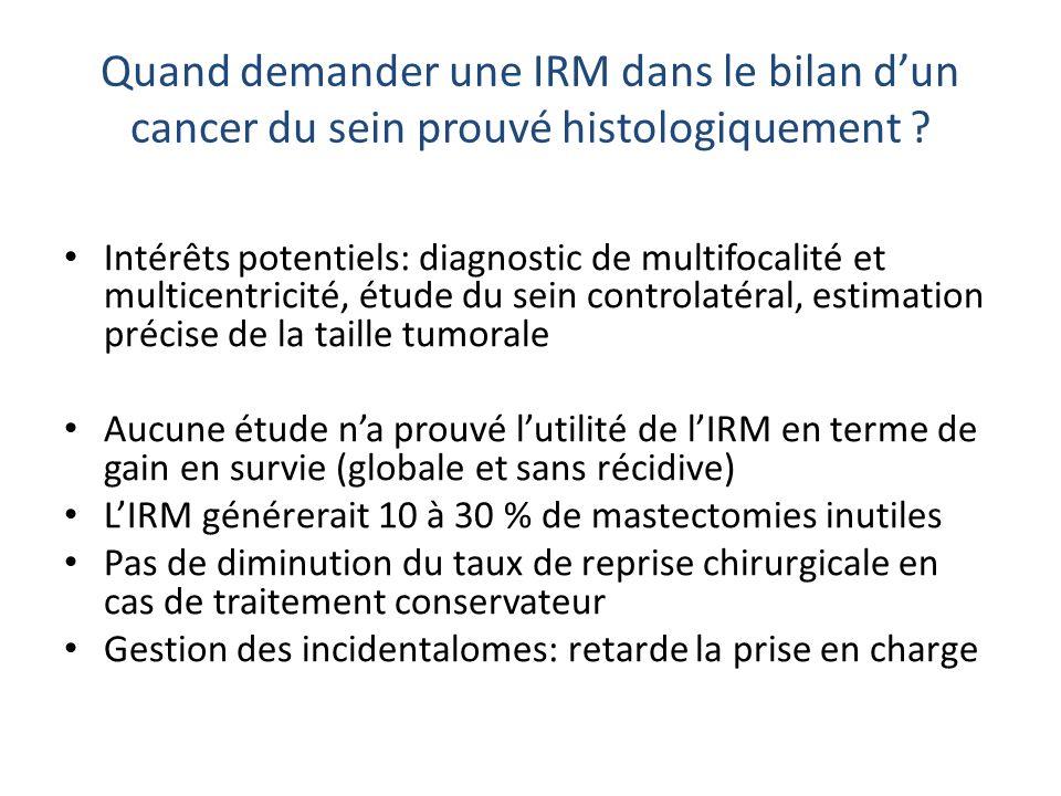 Quand demander une IRM dans le bilan dun cancer du sein prouvé histologiquement ? Intérêts potentiels: diagnostic de multifocalité et multicentricité,