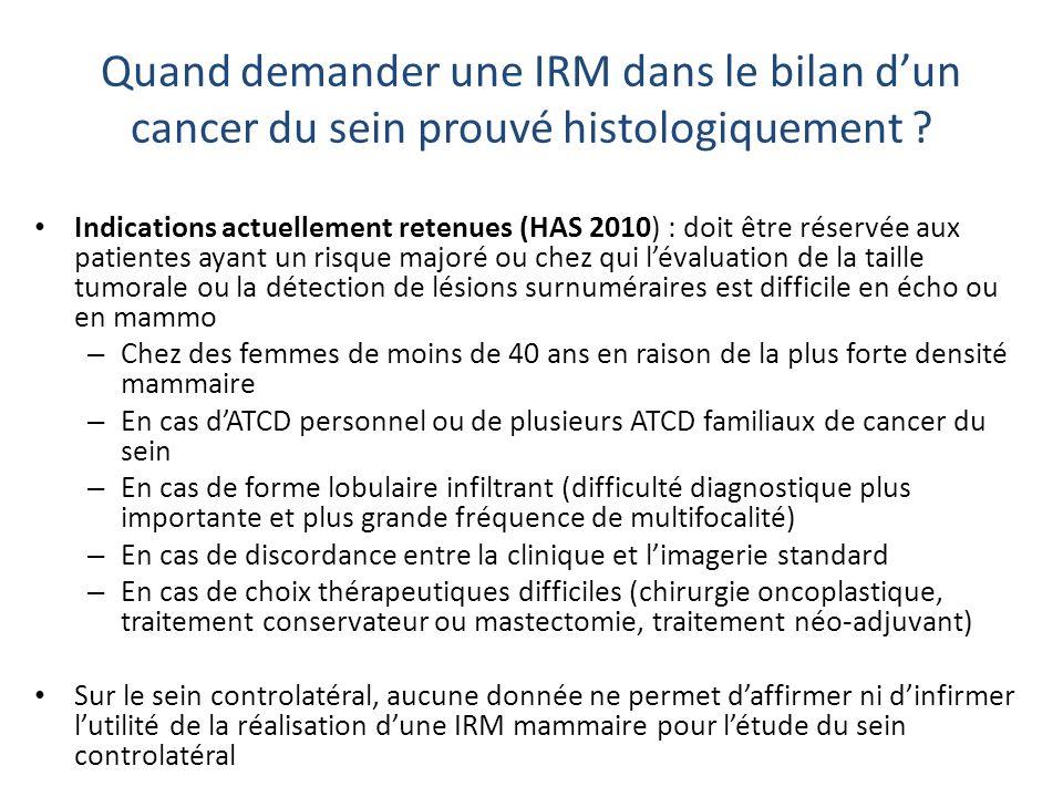 IRM inutile et nuisible Bilan de micro-calcifications : macrobiopsie sous stéréotaxie +++ IRM retarde la prise en charge Bilan dune lésion visible en mammo et/ou échographie (ACR 3, 4, 5): contrôle ou biopsies Femme jeune, sans atcd, seins denses: risque dincidentalomes +++