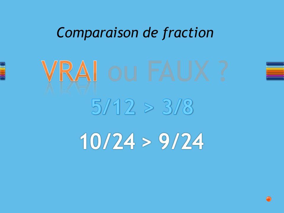 VRAI ou FAUX ? Comparaison de fraction