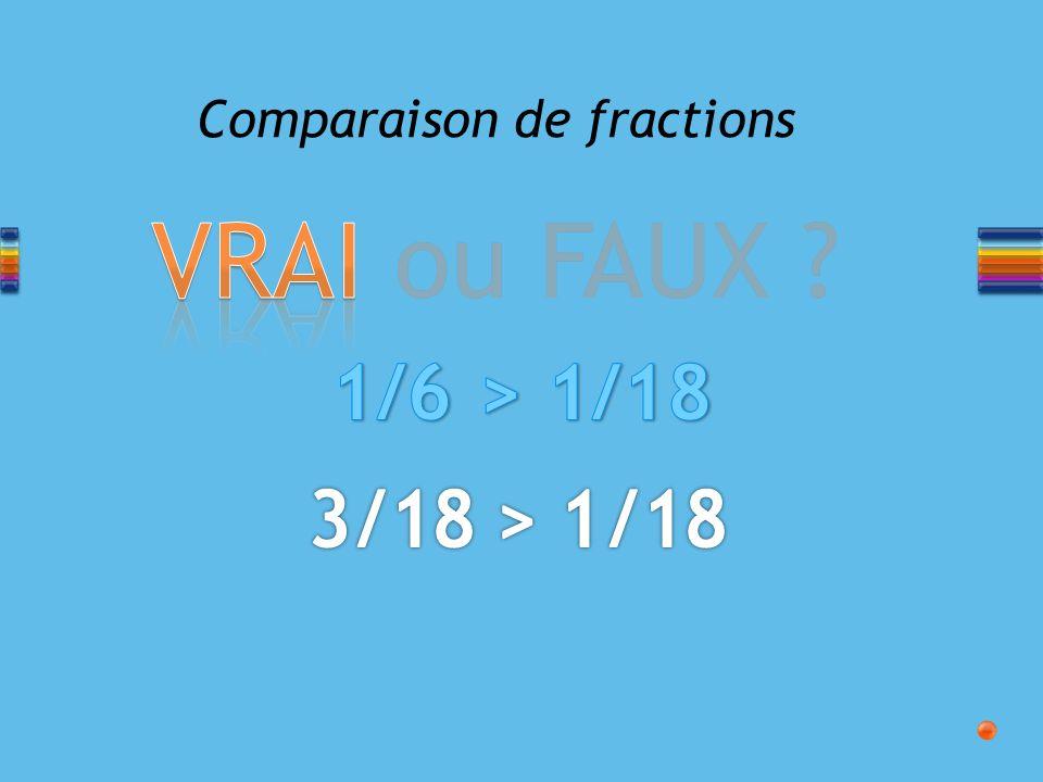 VRAI ou FAUX ? Comparaison de fractions