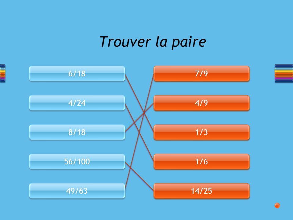 6/18 4/24 8/18 56/100 49/63 7/9 4/9 1/3 1/6 14/25 Trouver la paire