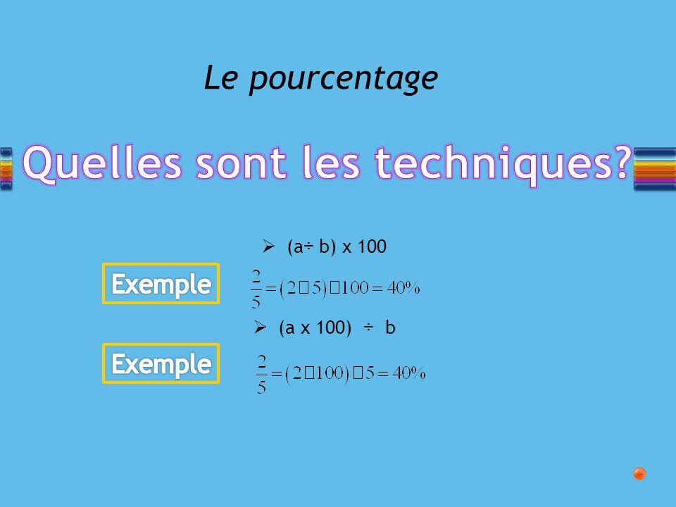 Le pourcentage (a ÷ b) x 100 (a x 100) ÷ b