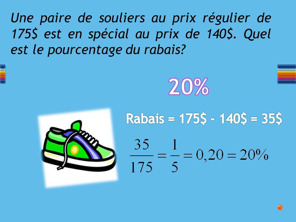 Une paire de souliers au prix régulier de 175$ est en spécial au prix de 140$.