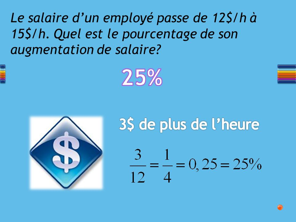 Le salaire dun employé passe de 12$/h à 15$/h.