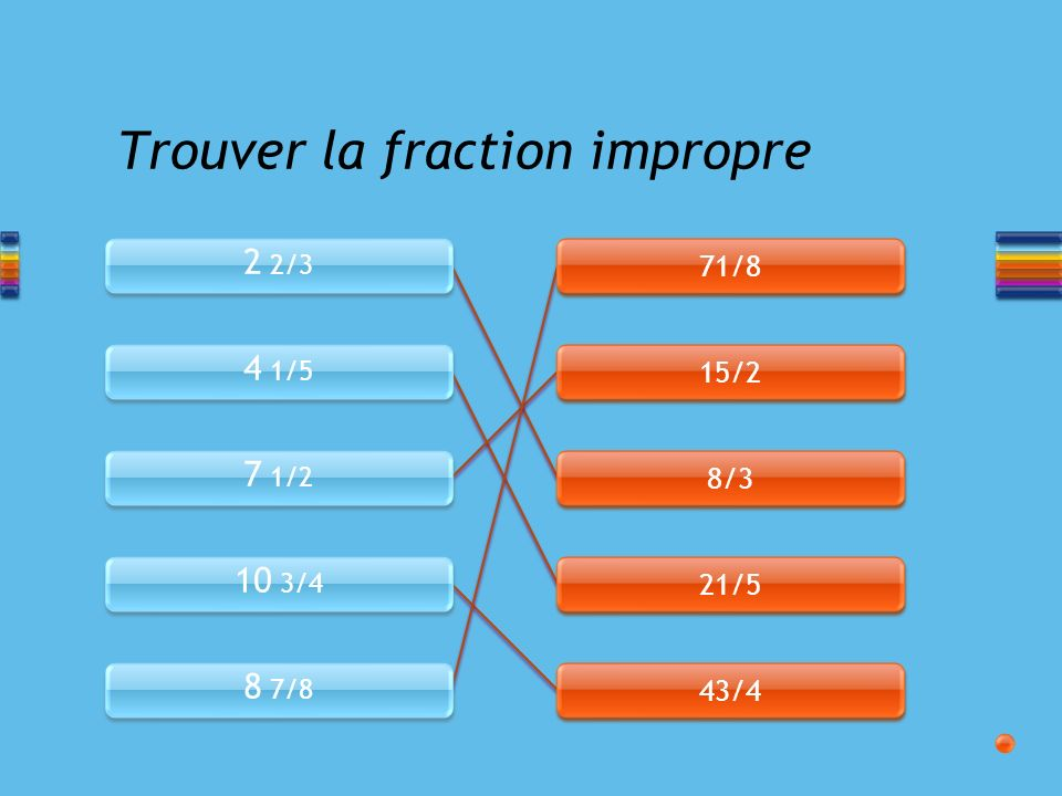 2 2/3 4 1/5 7 1/2 10 3/4 8 7/8 71/8 15/2 8/3 21/5 43/4 Trouver la fraction impropre