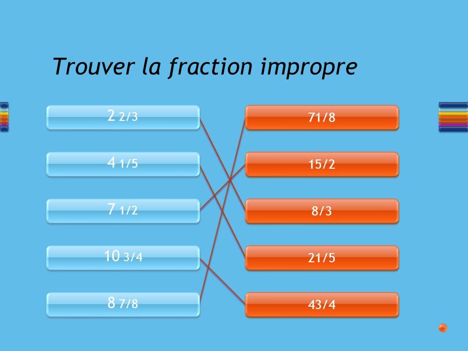 Transformation dune fraction impropre en nombre fractionnaire Effectuer la division et trouver le reste.