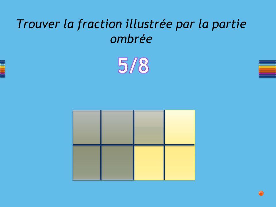Trouver la fraction illustrée par la partie ombrée