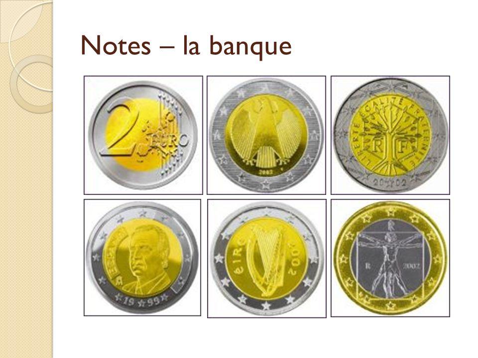 Notes – la banque La monnaie
