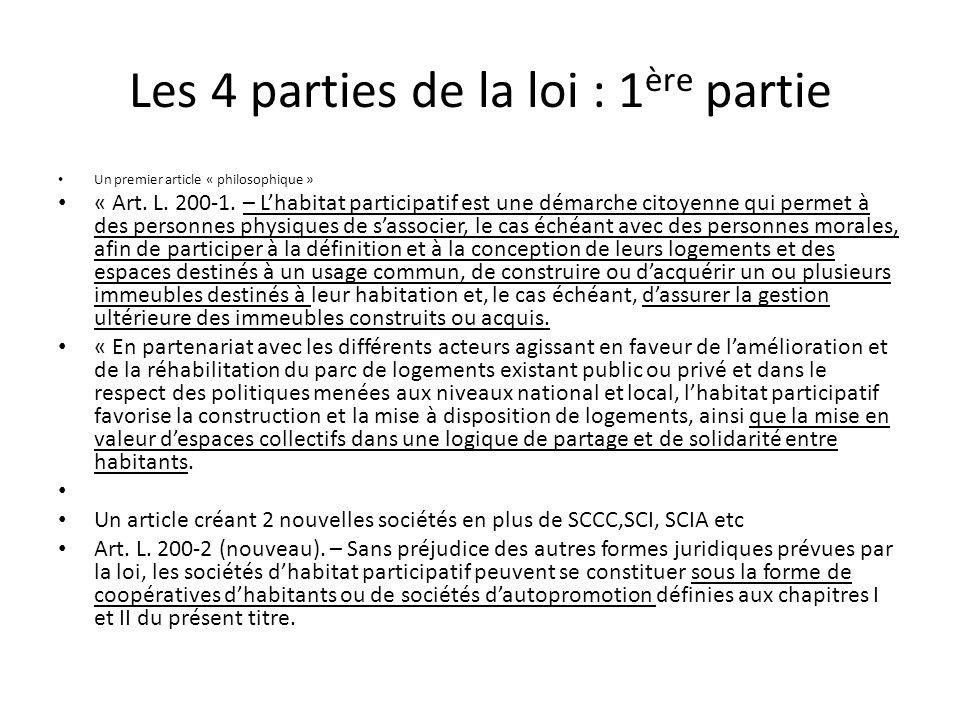 Les 4 parties de la loi : 1 ère partie Un premier article « philosophique » « Art.