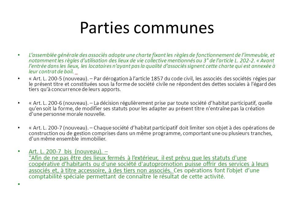 Parties communes Lassemblée générale des associés adopte une charte fixant les règles de fonctionnement de limmeuble, et notamment les règles dutilisation des lieux de vie collective mentionnés au 3° de larticle L.