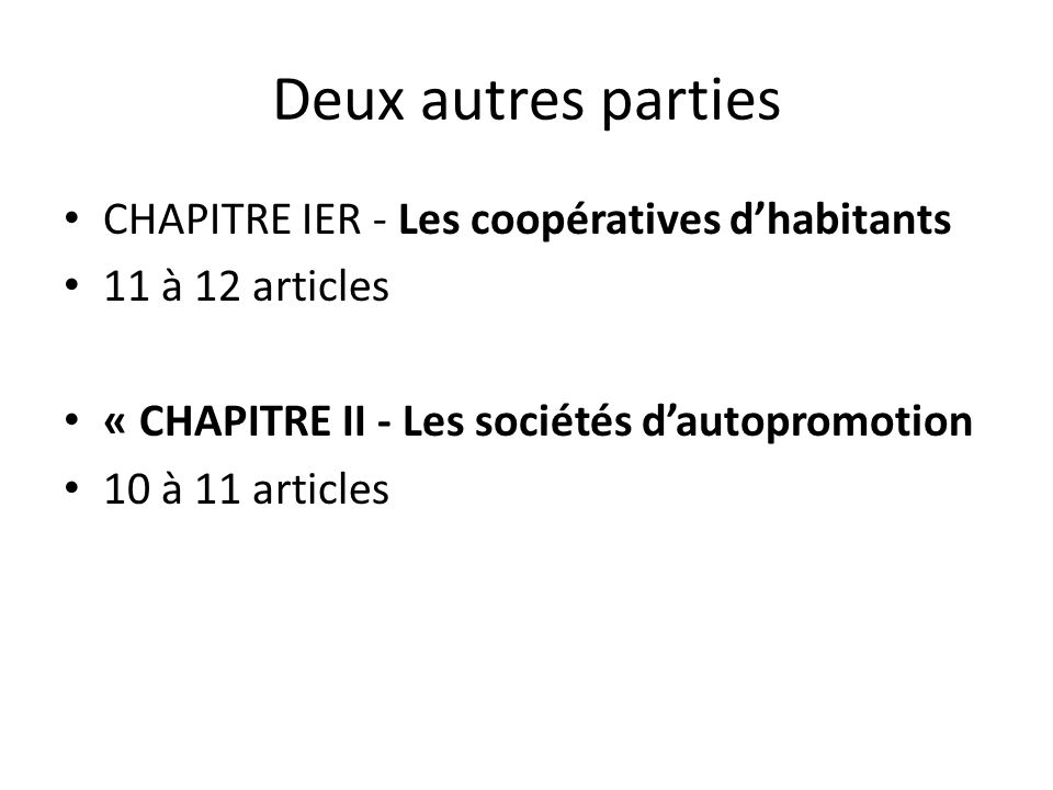 Deux autres parties CHAPITRE IER - Les coopératives dhabitants 11 à 12 articles « CHAPITRE II - Les sociétés dautopromotion 10 à 11 articles