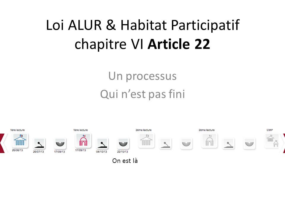 Loi ALUR & Habitat Participatif chapitre VI Article 22 Un processus Qui nest pas fini On est là