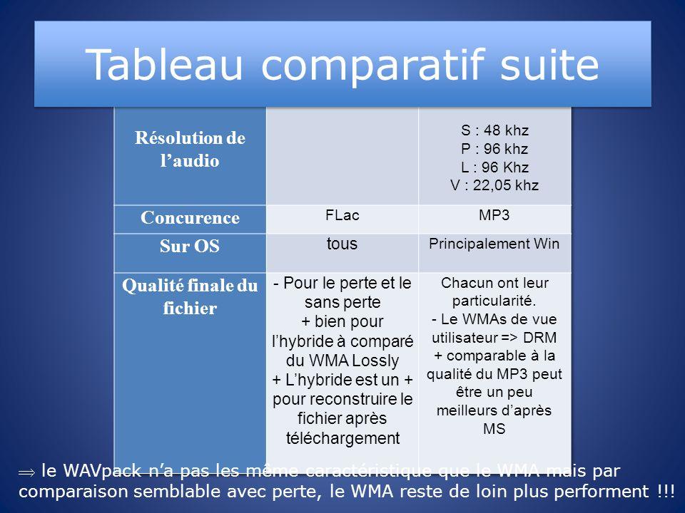 Tableau comparatif suite le WAVpack na pas les même caractéristique que le WMA mais par comparaison semblable avec perte, le WMA reste de loin plus pe