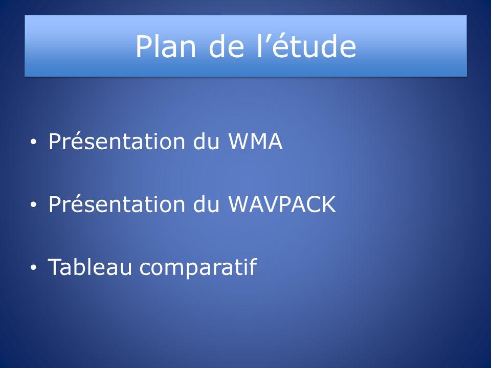 Plan de létude Présentation du WMA Présentation du WAVPACK Tableau comparatif