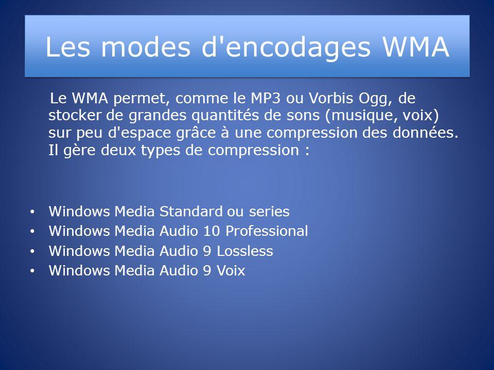 Les modes d'encodages WMA Le WMA permet, comme le MP3 ou Vorbis Ogg, de stocker de grandes quantités de sons (musique, voix) sur peu d'espace grâce à