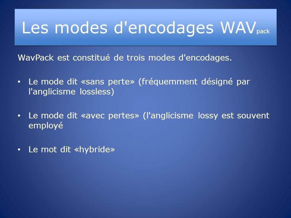 Les modes d'encodages WAV pack WavPack est constitué de trois modes d'encodages. Le mode dit «sans perte» (fréquemment désigné par l'anglicisme lossle