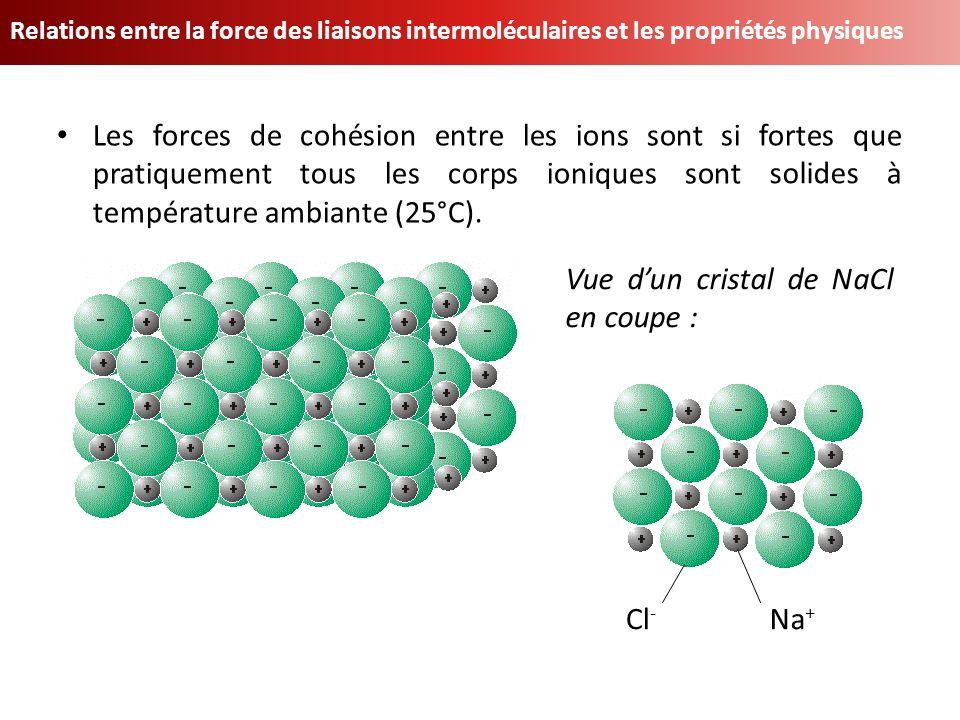 Relations entre la force des liaisons intermoléculaires et les propriétés physiques Les forces de cohésion entre les ions sont si fortes que pratiquem