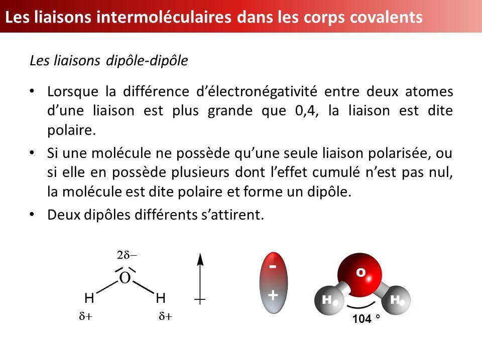 Les liaisons intermoléculaires dans les corps covalents Lorsque la différence délectronégativité entre deux atomes dune liaison est plus grande que 0,