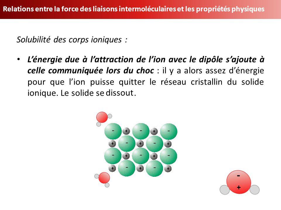 Relations entre la force des liaisons intermoléculaires et les propriétés physiques Lénergie due à lattraction de lion avec le dipôle sajoute à celle