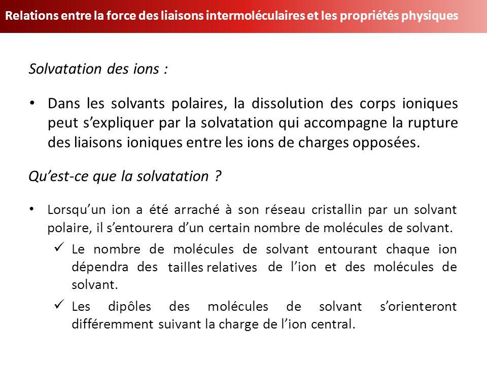Relations entre la force des liaisons intermoléculaires et les propriétés physiques Dans les solvants polaires, la dissolution des corps ioniques peut