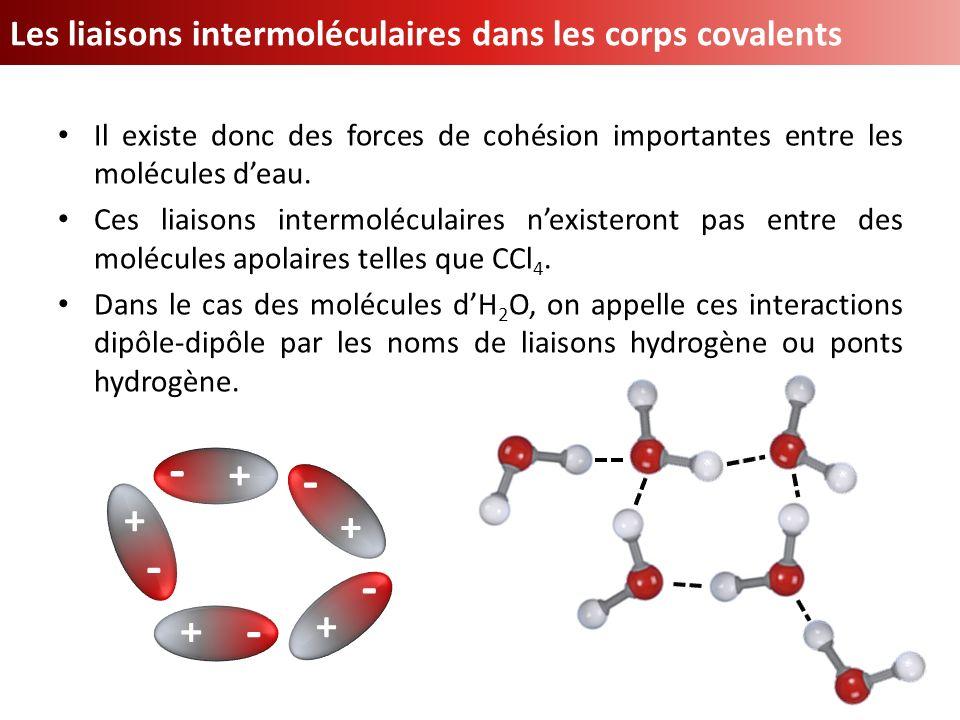 Il existe donc des forces de cohésion importantes entre les molécules deau. Ces liaisons intermoléculaires nexisteront pas entre des molécules apolair