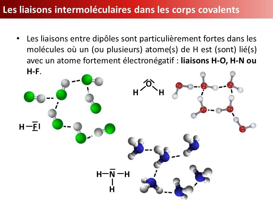Les liaisons entre dipôles sont particulièrement fortes dans les molécules où un (ou plusieurs) atome(s) de H est (sont) lié(s) avec un atome fortemen