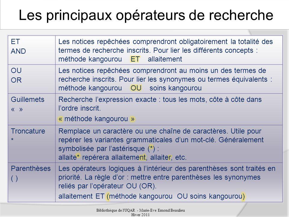 Bibliothèque de l UQAR - Marie-Eve Emond Beaulieu Hiver 2011 ET AND OU OR Guillemets « » Troncature * Parenthèses ( ) Les principaux opérateurs de recherche