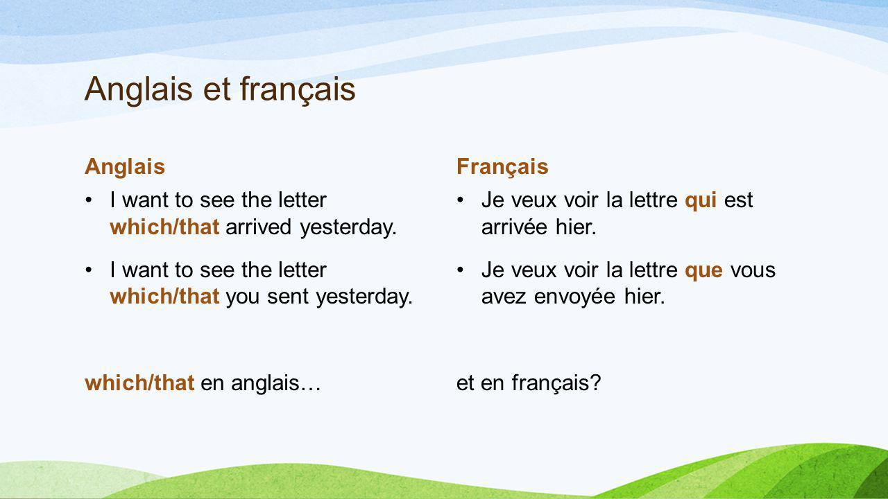 Anglais et français Anglais I want to see the letter which/that arrived yesterday. I want to see the letter which/that you sent yesterday. which/that