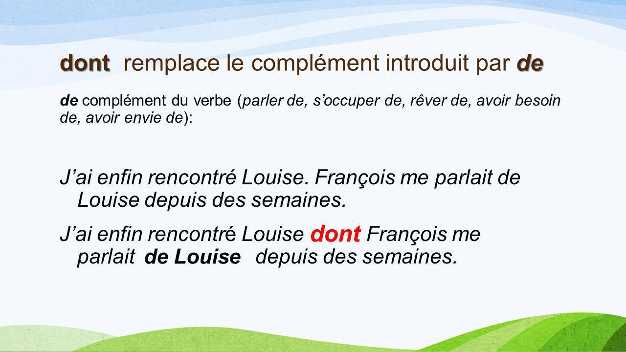 dont de dont remplace le complément introduit par de de complément du verbe (parler de, soccuper de, rêver de, avoir besoin de, avoir envie de): Jai enfin rencontré Louise.