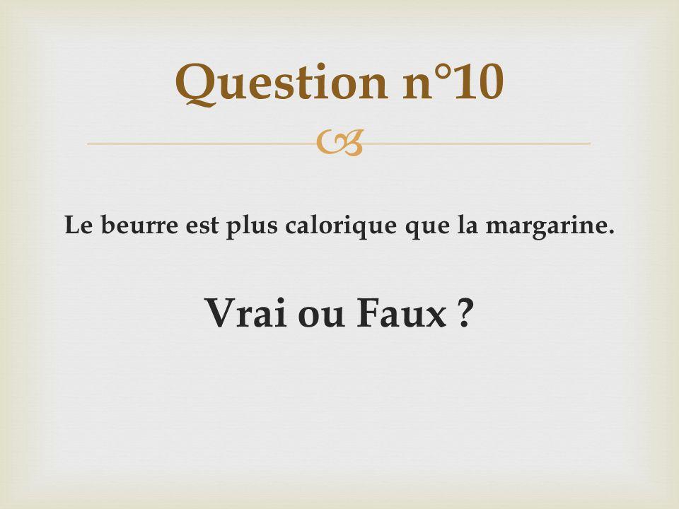 Le beurre est plus calorique que la margarine. Vrai ou Faux ? Question n°10